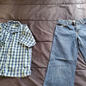 boy size 10 jeans and plaid shirt